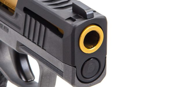 Contrasting gold barrel on this tuned Sig Sauer P365